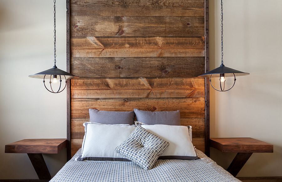 wooden headboards ... floor-to-ceiling headboard with wooden planks in the rustic bedroom  [design: fvhoacp